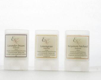 Organic Travel Deodorant -Travel Sample Size Deodorants - Baking Soda Free