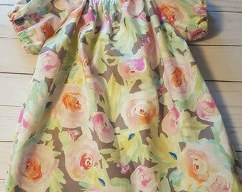 Floral peasant dress - girls clothes - grey dress - baby dress - peasant dress - toddler dress - girls peasant dress - peasant dress toddler