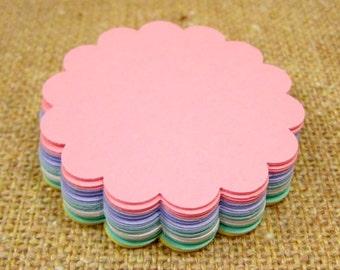 Dollar Sale- Scallop Circle Shape (Pastels Collection) Cardstock- 2 1/2 Dozen
