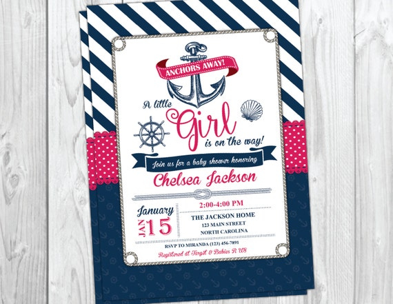 Nautical Baby Shower Invitation - Girl Baby Shower - Ahoy Anchor Invite - Pink and Blue