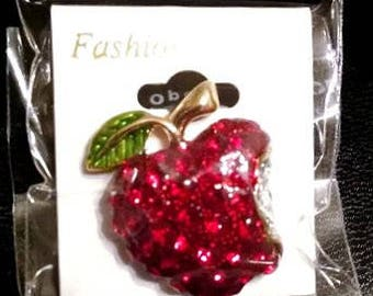 Red Crystal Apple Lapel Tac Pin