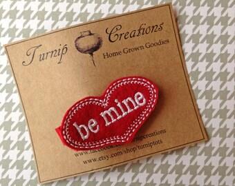 BE MINE Red Valentine Felt Conversation Heart Hair Clip