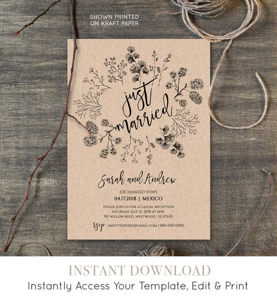 Just Married Elopement Invitation Template, Printable Rustic Wedding Elopement Announcement, Instant Download, Fully Editable #018-101EL