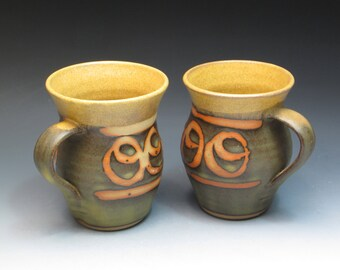 Colorful Studio Pottery Mugs, Marked but Unknown Artist