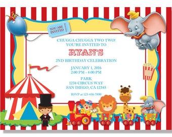 Dumbo Circus Birthday Invitations - Digital File