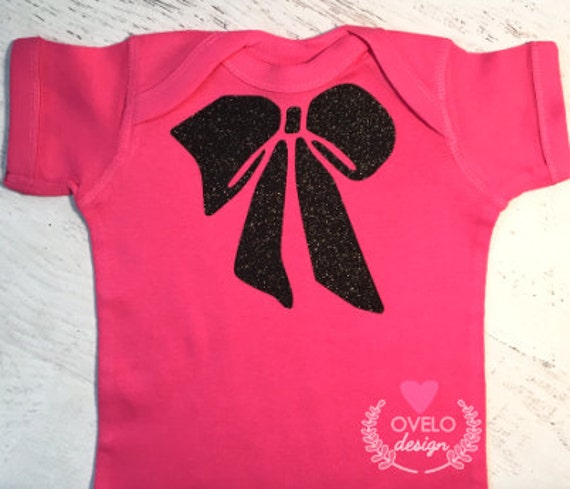 Big Bow on Glitter Black on Hot Pink bodysuit can be printed in a variety of colors