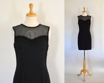 SALE / On Sale / Final Sale / Vintage 90s Dress / Sheath Dress / Evening Dress / 90s Party Dress / Black Dress / Sheer / LBD / Size Small