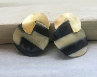 Black & White and Earrings with brass element,