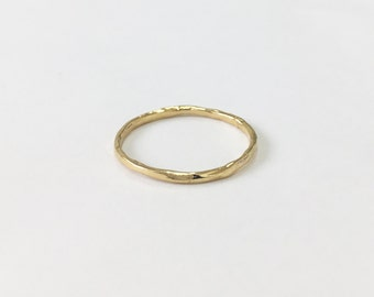 Hammered Band Ring, 14K Solid Gold Ring, 14K Yellow Gold,  Solid Band