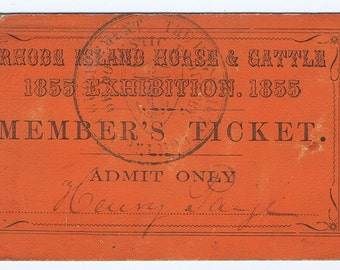 Rhode Island Horse and Cattle Exhibition 1855 Ticket History Antique Vintage Decorative 19thc Am Agriculture Paper Ephemera