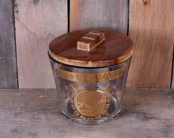 Vintage Mid Century Glass Ice Bucket Imperial Crest Shield Fleur De Lis Design with Wooden Lid Barware