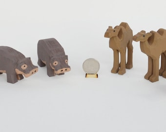 Hand Carved Wooden Noah's Ark Animals, Wooden Animals Hyena, Hippos, Camels and Dingoes, Hand Carved
