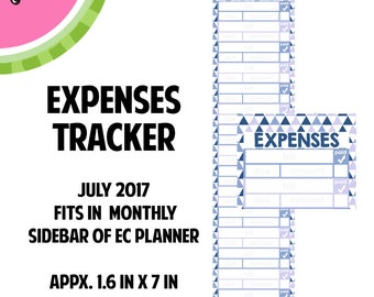 JULY 2017 Monthly Bill / Expense Tracker Stickers | Vertical Color Palette | LB144