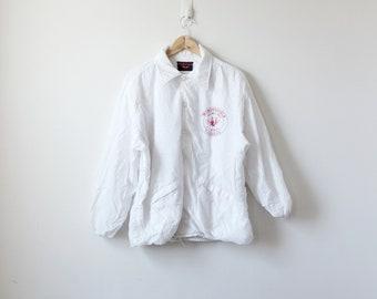 "90s ""Monongahela Turners"" Bowling League White Windbreaker - 90s Windbreaker Vintage Windbreaker 90s Logo Windbreaker White Jacket -Men's XL"