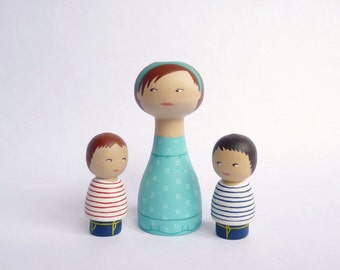 Personalized Peg Mother son twins Dolls FREE SHIPPING Custom Portrait Wooden hand painted mother boys Mother's day