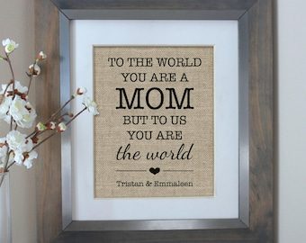 Personalized Gift for MOM | Gift for Mom from Daughter | Mothers Day | To the World You Are a MOM | Mom Birthday Gift | Mothers Day Gift