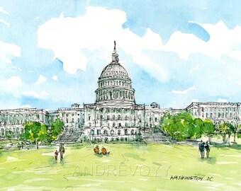 Capitol Washington DC art print from original watercolor painting