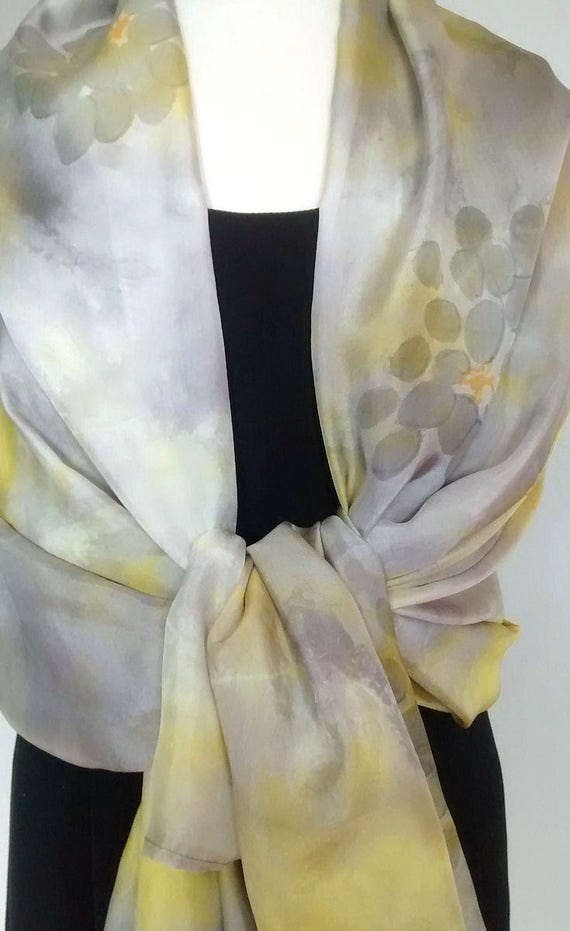 """Sarong / Wrap Hand Dyed and Painted Silk - 34 x 72"""", Shibori Dyed in Yellow and Grey, Painted with Flowers"""