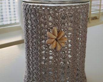Crocheted Glass Jar with sea shells
