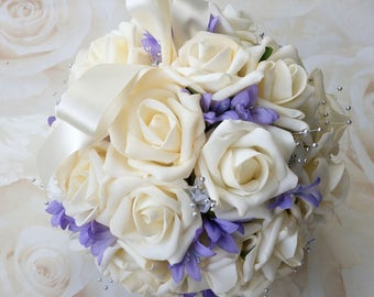 Ivory and purple flower girl pomander, bridesmaid pomander, bouquet alternative, boho bouquet, wedding aisle decor, church pew decor