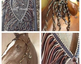 horse tack, paracord reins, braided bridle, headstall, paracord tack , Fringe breast collar, horse tack tan black and brown tack set