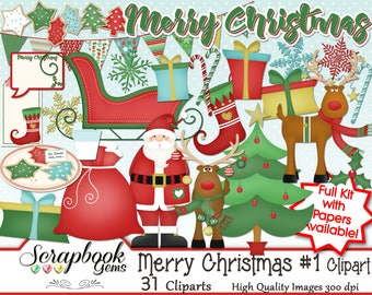 MERRY CHRISTMAS SET #1 Clipart, 31 png Clipart files Instant Download winter christmas tree gift santa stocking snowflake sleigh reindeer
