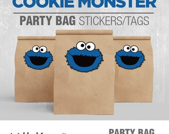 COOKIE MONSTER Party Bag Sticker / Loot Bag Label / Party Box Label, Instant Download, Digital File