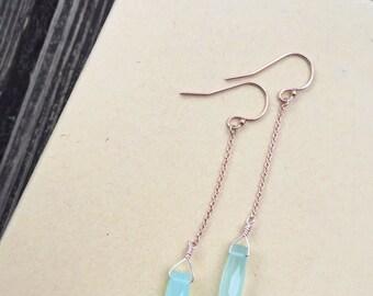 Rose Gold And Aqua Blue Chalcedony Bullets Long Drop Dangle Earrings