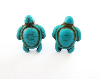Turtle Stud Earrings Tortoise Jewelry Aquatic Animal Ocean Sea Blue Turquoise Howlite Gemstone Gem Stone Accessories Womens Gift For Her