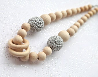 Light grey simple nursing rings necklace. Girls crochet necklace. Mammy and baby teething necklace.