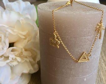 Bracelet charms, trendy bracelet, women bracelet, Bangle bracelet triangle Palm bracelet gold plated, bracelet gold plated chain