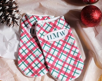 Personalized Monogram Christmas Holiday Socks - Set of 3 no-show cotton socks