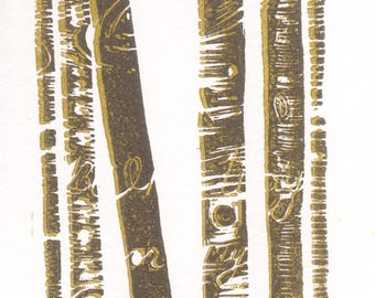 Birch trees linocut, 5 x 7
