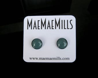 Gray / Green Petite Glass Earrings