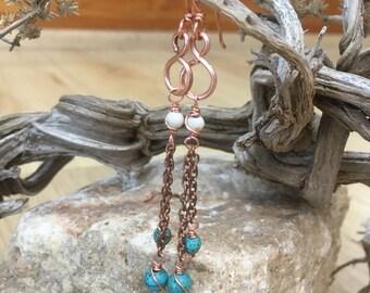 Copper turquoise dangly handmade bohemain earrings