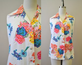 1970s Hawaiian Casuals by Stan Hicks Blouse