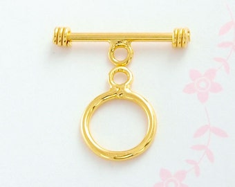 2 of 925 Sterling Silver 24k Gold  Vermeil Style Toggles 9 mm.  :vm0036