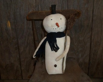 Primitive Handmade Standing Snowman with Broom ~ Winter ~ Christmas