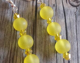 Lemon Yellow Frosted Dangle Earrings, Yellow Earrings, Dangle Earrings, Crystal Earrings, Frosted Earrings, Yellow Dangle Earrings, Silver