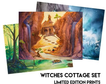 Witches Cottage Set - Limited Edition Prints - Witch Art, Witch Illustration, Witchcraft Art, Witch Painting, Witches Cottage