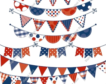 Blue, White and Red Bunting Clip Art Set - printable digital clipart - instant download