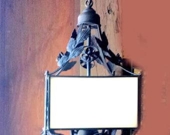 Wrought iron Hanging Lamp, Indoor Black Lantern, Restored Vintage Light