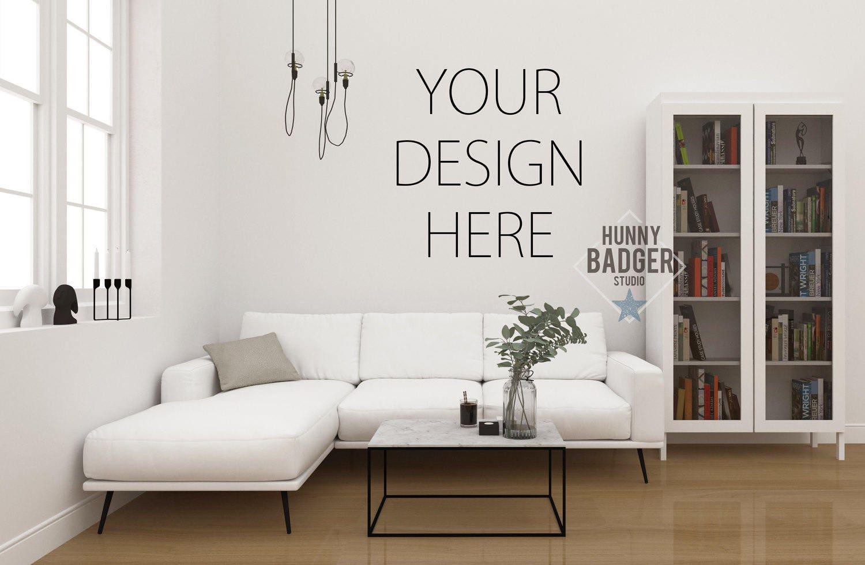 Blank Wall Mockup Frame Art Living Room Coffee Table