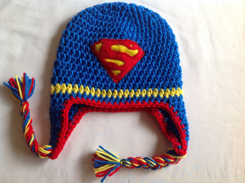 Superman Crochet Super Hero Hat. FREE SHIPPING