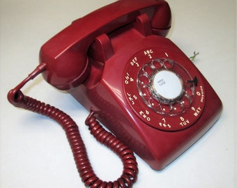 Vintage Bell Western Electric Model 500 C/D Red Rotary Dial Telephone Dated November 1968