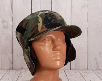 Army winter cap, Winter uniform hat, Vintage warm hat, Military winter hat, Ushanka, Camouflage hat, Trapper hat , Military woollen hat