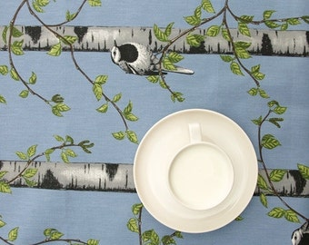 Tablecloth blue white green Birch grove Birds Modern Scandinavian Design ,also napkins , runners , curtains available, great GIFT