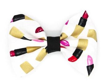 Lipsticks White Fabric Hair Bow Clip