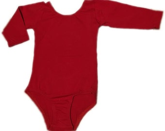 Girls Red Leotard (long sleeve personalized)