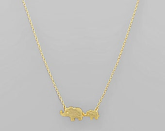 Elephant Mom & Baby Charm Necklace